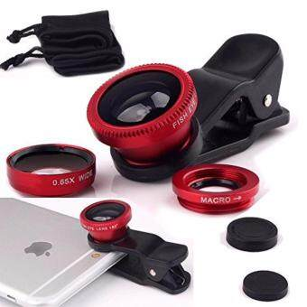 Harga Universal 3 in 1 Mobile Phone Camera Lens Kit 180 Degree Fish Eye Lens + 2 in 1 Micro Lens + Super Wide Angle Lens for iPhone, iPad mini, iPad 4, 3, 2, Samsung Galaxy , Sony HTC Blackberry Smart phones(Red)