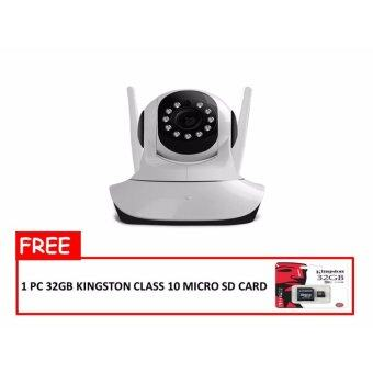 Harga Wireless/Lan HD 720P 330 angle Pan Tilt IP Camera CCTV Survillience with Slot 64GB Micro SD double antenna good wifi signal receiving