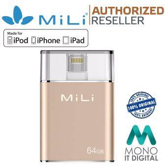 Harga MiLi i-Data Pro 64GB Lightning Flash Drive USB 3.0 OTG MFi Certified iPhone iPad GOLD (ORIGINAL)
