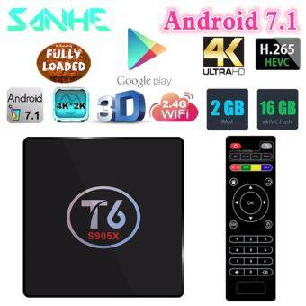 Harga High Quality New T6 Android 7.1 2G/16G Smart TV Box Amlogic S905X Quad Core Wifi HDMI 4K Media Player