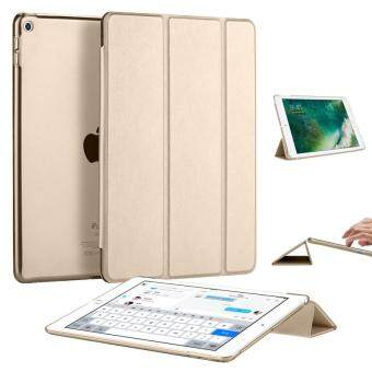 Harga Slim Tri-fold PU Leather Smart Cover Case for Apple iPad 9.7-inch (2017 New) (Gold)