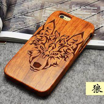 Harga LYBALL 100% Natural Wooden Wood Bamboo Phone Case Cover For Apple iPhone 6 6s Wolf