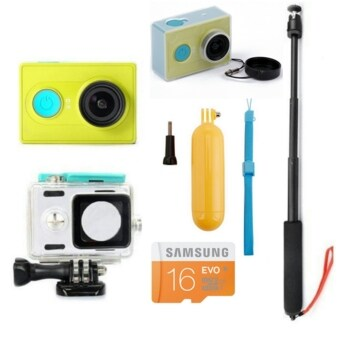 Harga (Genuine) XiaoMi XiaoYi Yi Sports Action Camera Full HD Video Recorder Camera (Green) + Kingma Waterproof Case + Samsung Evo 16GB Class 10 + Bobber + Transparent Hard Case + Monopod Bundle