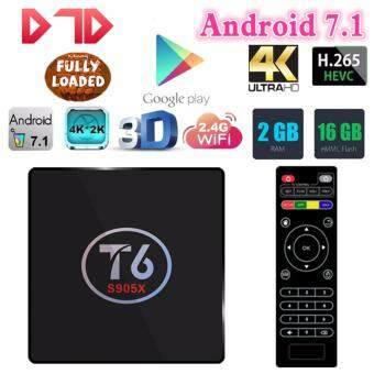 Harga Original T6 TV Box Android 7.1 Smart TV Box 2GB RAM 16GB ROM Amlogic S905X Quad core Cortex A53 4K 2.4GHz WiFi Smart Set Top Box