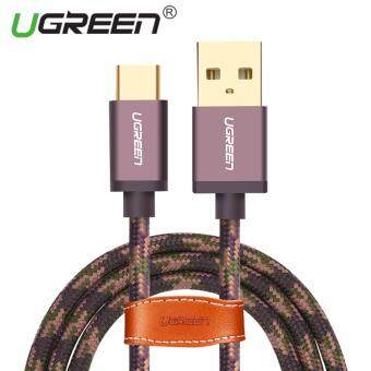 Harga UGREEN Type C Cable Cord Nylon Braided Sync and Fast Charging Data Cable for Android Mobile Phone - 1M,Arm Green