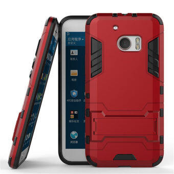 Harga HTC 10 Case, HTC One M10 Case, SATURCASE Hybrid 2 In 1 [PC & Silicone] Dual-Layer Bumper Case Cover with Kickstand for HTC 10 / HTC One M10 Red