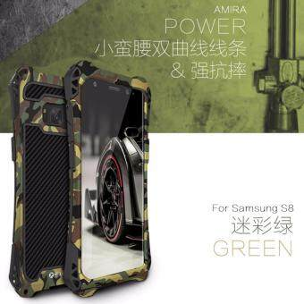 Harga R-JUST Amira 3 Protector Waterproof Shockproof dirt proof Phone case for Samsung Galaxy S8 , Exclusive extreme heavy duty outdoor cover case metal Carbon fiber Green