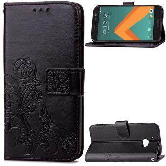 Harga HTC 10 Case, HTC One M10 Case, Lucky Clover PU Leather Flip Magnet Wallet Stand Card Slots Case Cover for HTC 10 / HTC One M10 (Black)