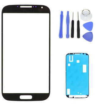 Harga Black Replacement LCD Front Touch Screen Glass Outer Lens For Samsung Galaxy S4 i9500 i9505 +Tool Kits + Sticker