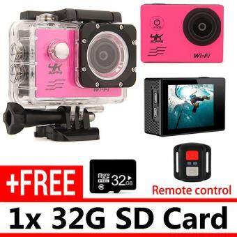 Harga Remote-Control Unit 4K Waterproof Sports Camer unit DV SJ9000 Action Camcorder Camera Video Cameras and 32G Card - Pink