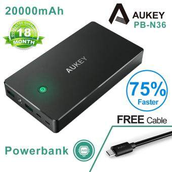 Harga Aukey 20000mAh 3.4A Dual Turbo Charge Powerbank N36 Support Lightning