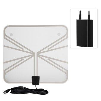Harga Ultra-Thin 50 Miles Range Indoor Amplified Digital TV HDTV Antenna with 16ft Cable EU Plug