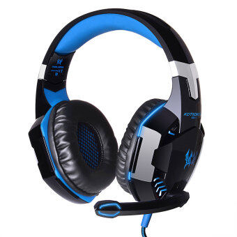 Harga niceEshop EACH G2000 Professional PC Laptop Over-ear Stereo Gaming Headphone Game Headset with Microphone LED Light Display (Black Blue)