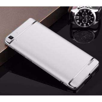 Harga Hybrid 3 In 1 Hard PC Frosted Matte Back Cover Case With Electroplated Frame For OPPO R7(Silver)