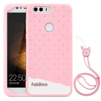 Harga Fabitoo Cute ice cream silicone back cover case For huaweri honor 8 With lanyard -Pink Color