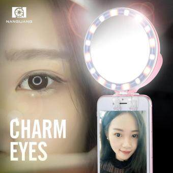 Harga NANGUANG CN-MP16C Clip-on Selfie Fill-in Ring LED Light Flash Bi-color 3200-5600K High CRI 95 Stepless Adjustable Round Shape with 16 LED Makeup Mirror for Iphone Samsung Smartphone White