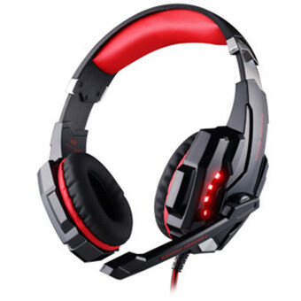 Harga EACH G9000 3.5mm Game Gaming Headphone Headset Over-Ear Earphone W/ Mic LED Light For Laptop Tablet / PS4 / Mobile Phones Original (Black Red)