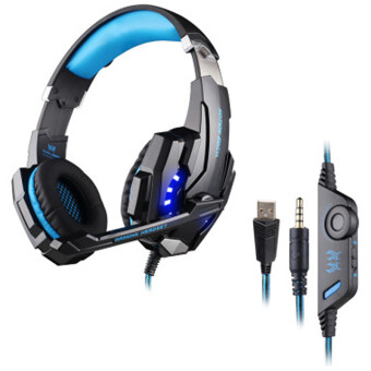 Harga EACH G9000 3.5mm Game Gaming Headphone Headset Over-Ear Earphone W/ Mic LED Light For Laptop Tablet / PS4 / Mobile Phones Original (Black Blue)