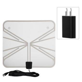 Harga Ultra-Thin 50 Miles Range Indoor Amplified Digital TV HDTV Antenna with 16ft Cable(US Plug)