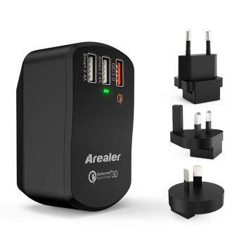 Harga Arealer Quick Charger 3.0 Trial 42W USB Wall Charger with Two Smart USB Charger One Qualcomm Certified QC 3.0 Foldable Plug for Samsung Galaxy S7/S6 Note LG HTC iPhone
