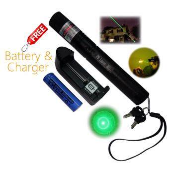 Harga Adjustable 303 Green Laser Pointer 532nm 5mW Matchstick Burning With Star Cap