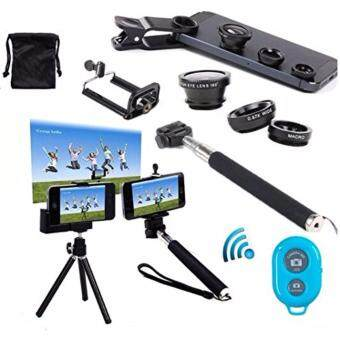 Harga AFAITH 7in1 Kit for iPhone, Android Wireless Bluetooth Remote Camera Shutter Release Control + Extendable Monopod + Adjustable Phone Holder + Retractable Rotating Tripod Stand Mount Holder + Fish Eye Lens + Wide Angle Lens + Macro Lens (Blue)