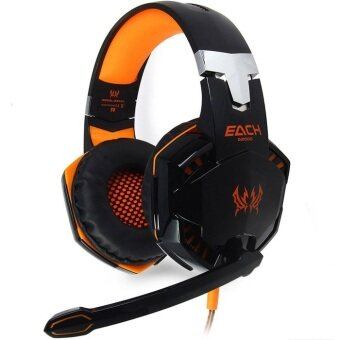 Harga G2000 Deep Bass Game Headphone Stereo Surrounded Over-Ear Gaming Headset with Led Light for Gamer(Orange Black)