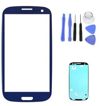 Harga For Samsung Galaxy S3 SIII I9300 I9305 Blue LCD Front Touch Screen Glass Outer Lens 4.8'' +Tools+Adhesive