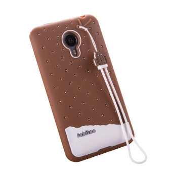 Harga Fabitoo Cute ice cream silicone back cover case For Meizu MX4 With lanyard -Coffee Color