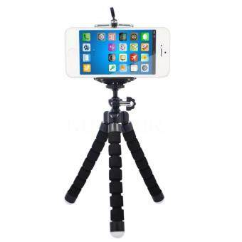Harga [FREE PHONE HOLDER] New Portable Phone Tripod Camera Holder Tripod Flexible Octopus Tripod Bracket Stand Mount Monopod For Phone & Camera (Black)