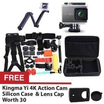 Harga Kingma Sport ActionSports Camera Waterproof Case 40m White for Xiaomi Yi Xiaoyi 4K + 3-Way Expendable Monopod + 30 in 1 Bundle Accessories Head Chest Mount Floating Grip Converter Bag + FREE Silicon Case Cover Black + Lens Cap Black