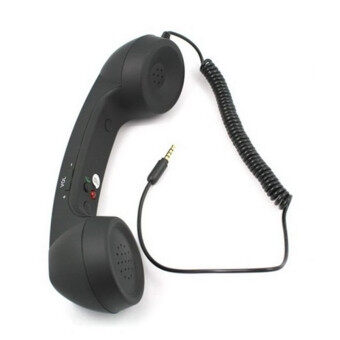 Harga Coco Style Phone Retro Handset iPhone/iPad/iPad2/touch/Samsung P1000/Nokia/HTC etc with 3.5mm Plug (BLACK)