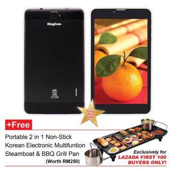Harga KingCom Pi PHONE OCTAN 7 inch Tablet (Black) +FREE Korean 2in1 Electronic Steamboat & BBQ Grill Pan **Exclusively for LAZADA FIRST 100 BUYERS ONLY!