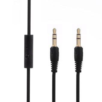 Harga 3.5mm Male to Male Auxiliary Audio Cables with Mic for iPhone, iPad, Samsung, HTC etc
