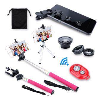 Harga AFAITH 7in1 Kit Wireless Bluetooth Remote Camera Shutter Release Control + Extendable Monopod + Adjustable Phone Holder + Retractable Rotating Tripod Stand Mount Holder + Fish Eye Lens + Wide Angle Lens + Macro Lens (Red)