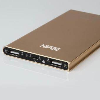 Harga NERO Lightweight Aluminum Alloy Metal Ultra Slim Power Bank 20,000mah with Dual USB Output Gold