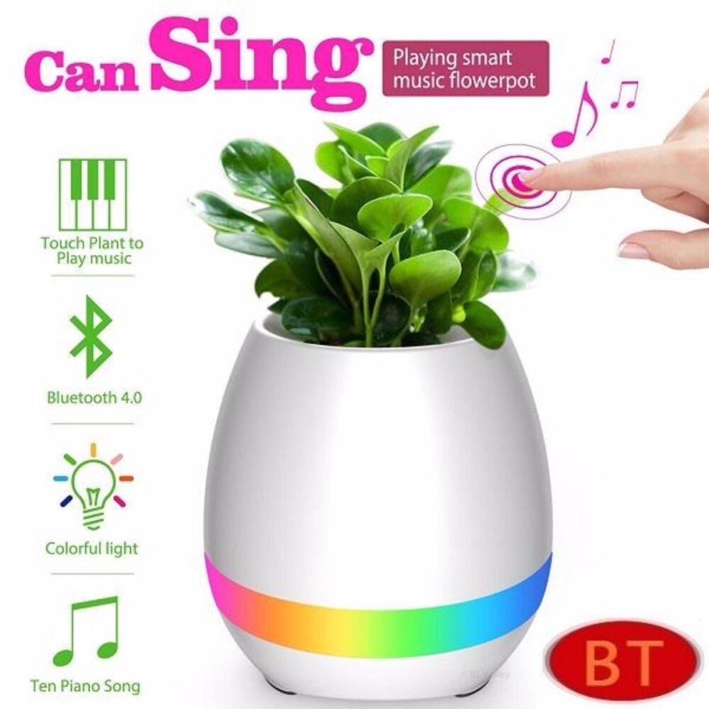 Intelligent Touch Music Plant Bluetooth Speaker LED Flower Pot (Pink)