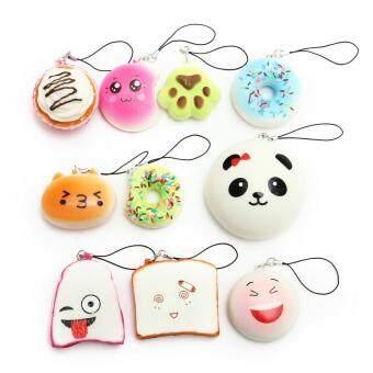 Kawaii 10Pcs Exquisite Squishy Random Charm Soft Panda/Bread/Cake/Buns Phone Straps