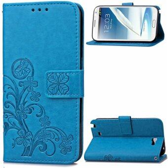 Harga Lucky Clover PU Leather Flip Magnet Wallet Stand Card Slots CaseCover for Samsung Galaxy Note II 2 N7100 Blue