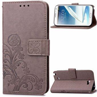 Harga Lucky Clover PU Leather Flip Magnet Wallet Stand Card Slots CaseCover for Samsung Galaxy Note II 2 N7100 Gray