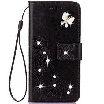 Lucky Four-leaf Clover Series Embossed Butterfly Handmade Diamonds PU Leather Flip Cases with hand