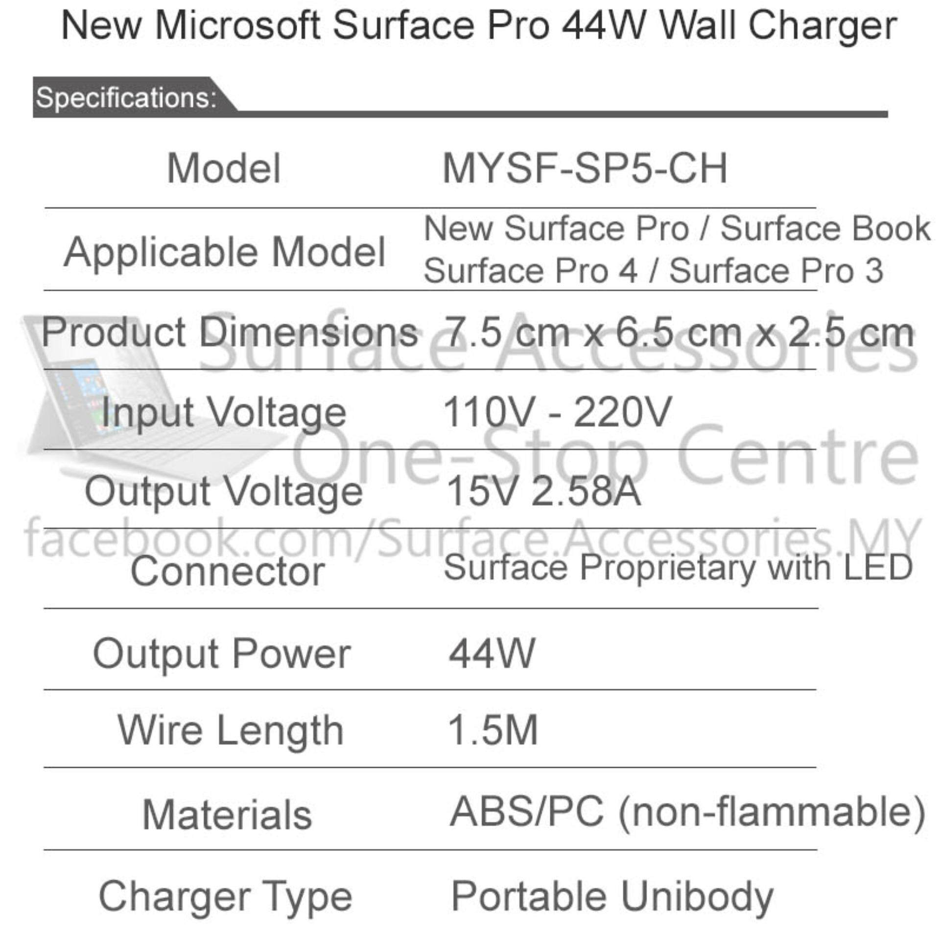 [MALAYSIA] New Surface Pro 2017 44W Charger with Original Charger Cable LED Charger New Microsoft Surface Pro 5 Charger with Official and Original Micosoft Charging Cable with LED Indicator Replacement Model 1800 15V 2.58A[ASSEMBLED IN MALAYSIA]