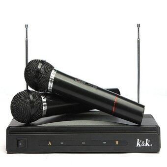 Harga Microphone Dual Cordless Wireless Mic + Receiver for Karaoke DJ Sing Songs