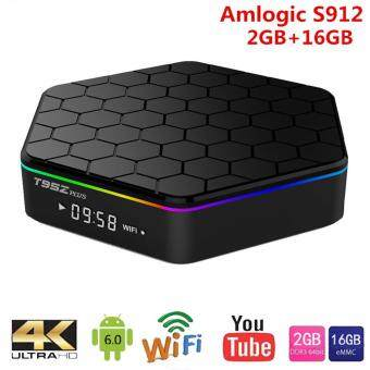 Harga MiLu T95Z Plus Smart Android TV Box Amlogic S912 Octa core RAM2GB+16GB TV BOX Android 6.0 WiFi 5.8G H.265 4K Media Player