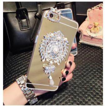 Features Mirror Tpu Luxury Diamond Badge Lanyard Phone Case Cover