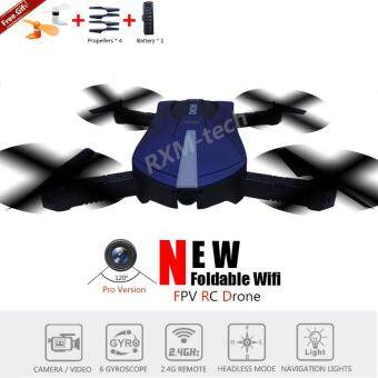 Harga New RXM H38 Pro Foldable RC Quadcopter Drone 2.4G 6 Axis with WifiFPV 720P Wide Angle Len HD Camera (Blue) (Free Gift Included) VSJY018 JXD 523W JJRC H37