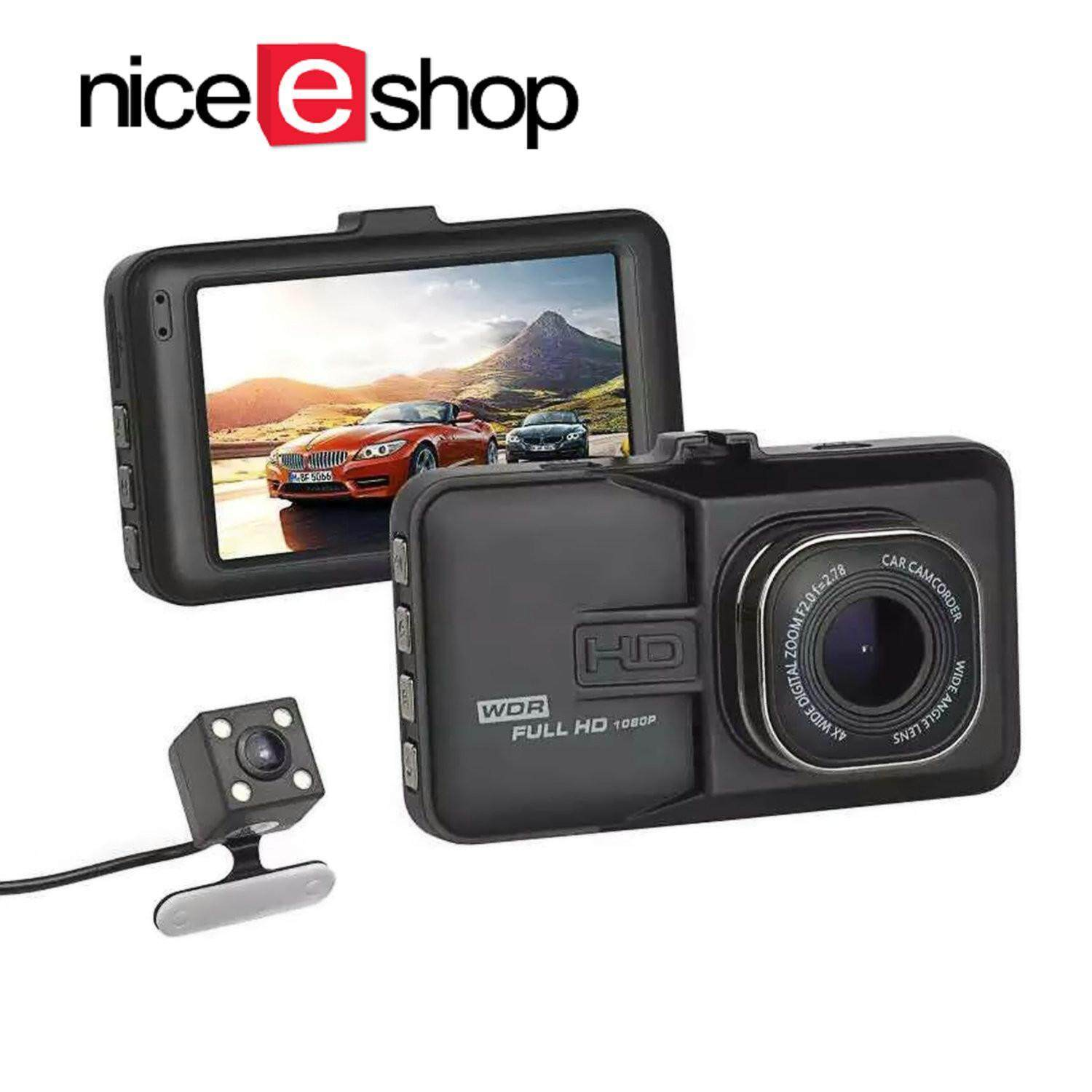 ?Global Express Delivery+Free shipping?niceEshop Full HD 1080P Dual Dash Cam Camera Hands-Free Night Vision Car Recorder DVR (MY)