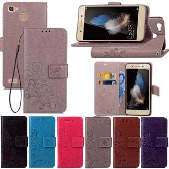 PU Leather Flip Wallet Case with Card Slot and Kickstand for Huawei Enjoy 5S / GR3