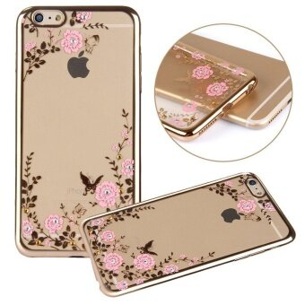 Rose Gold Plating Bumper Soft TPU Transparent Skin Case Cover Pink Flower Design Crystal Clear Bling