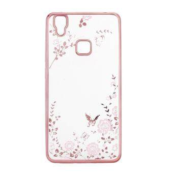 Secret Garden Bling Diamond Case Rose Gold Plating Clear Soft TPU Skin Cover for VIVO V3